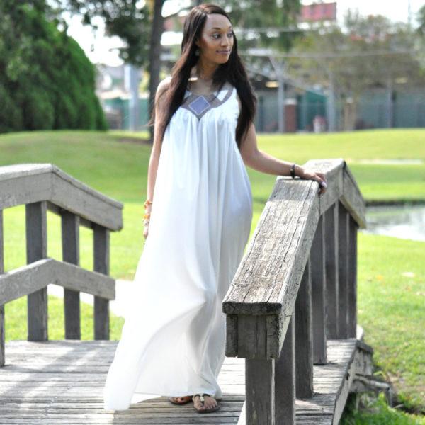 Scoop Neck A-Line White Maxi Dress