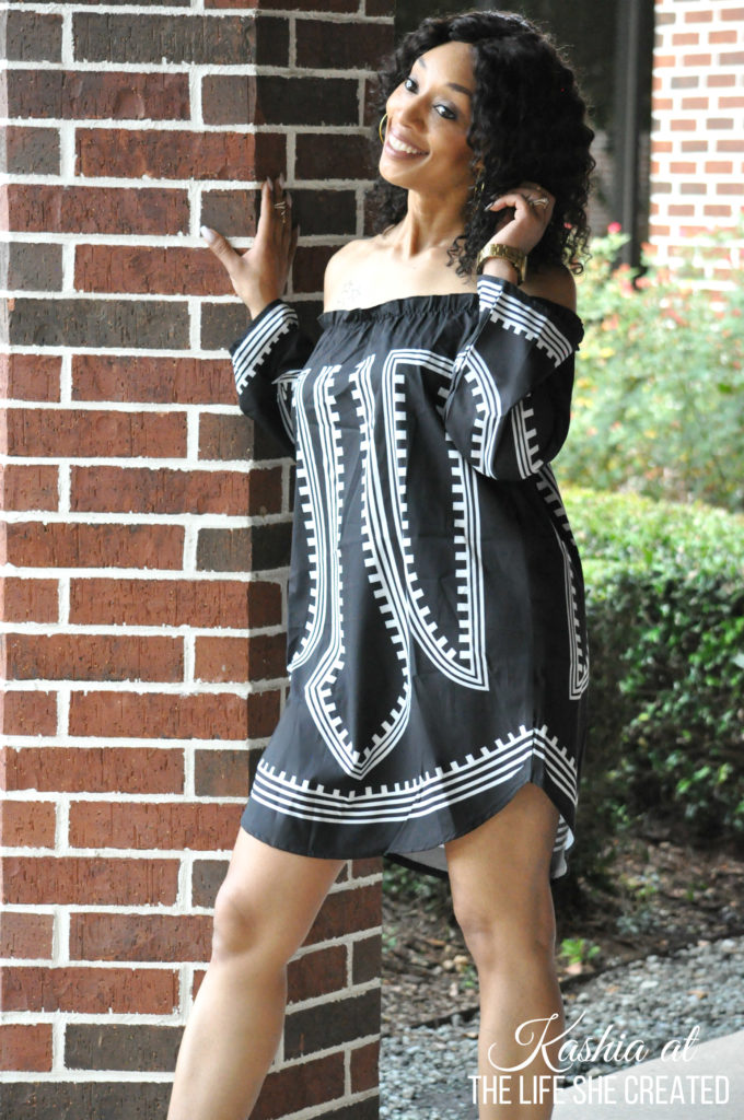Black Off The Shoulder Geometric Dress