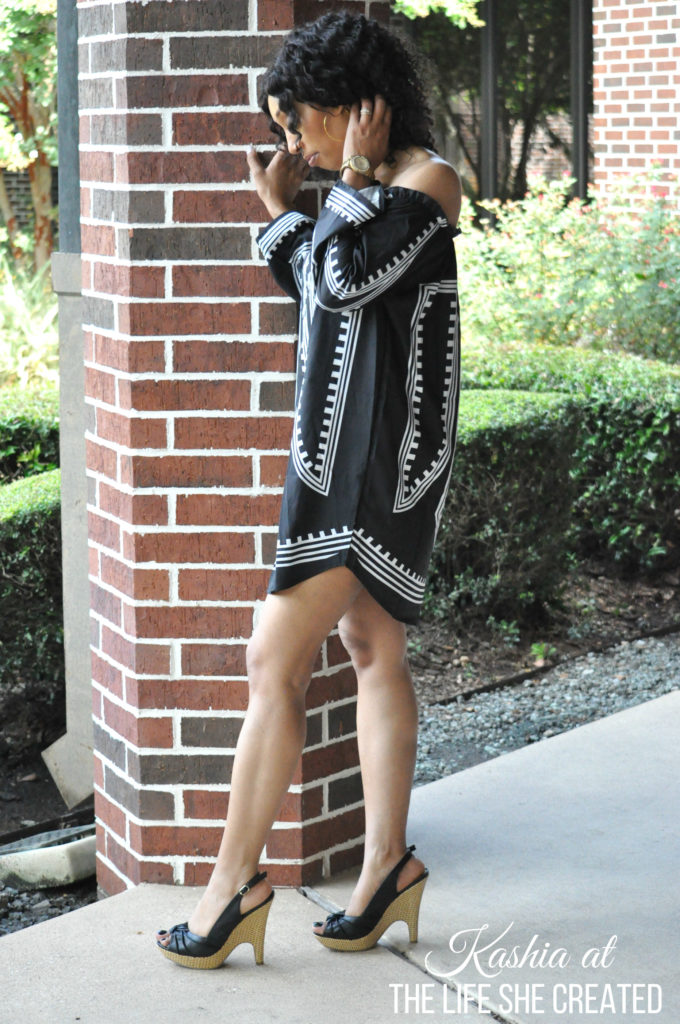 Off The Shoulder Black Geometric Dress