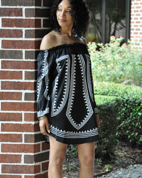 Black Off The Shoulder 3/4 Sleeve Dress