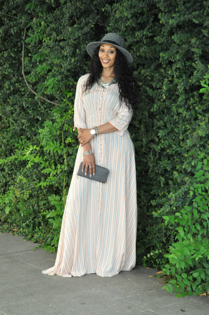 stripe button down maxi dress